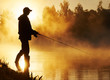 canvas print picture fisher fishing on foggy sunrise
