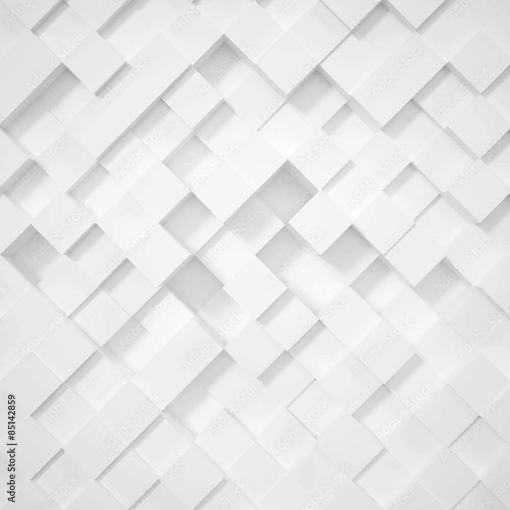 3d abstract white background rhombus, cubes.