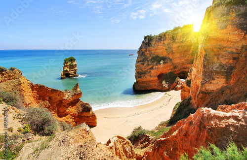 Photo Rocky beach at sunset, Lagos, Portugal