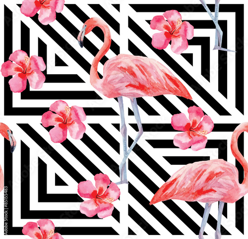 flamingo and hibiscus pattern, geometric background