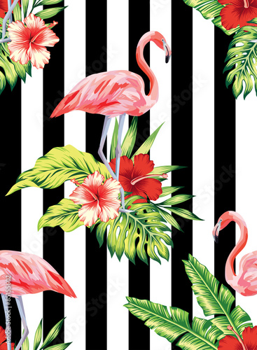 Cotton fabric flamingo, hibiscus and plants striped pattern