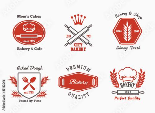 Stampa su Tela Bakery cafe bistro logo set