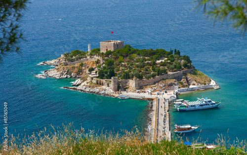 "Pigeon Island with a ""Pirate castle"". Kusadasi harbor"