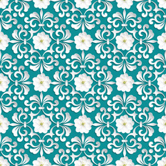 Vector flower seamless pattern element. Volumetric flowers.