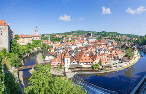 Canvas Prints Prague Panoramic view over the old Town of Cesky Krumlov, Czech Republic