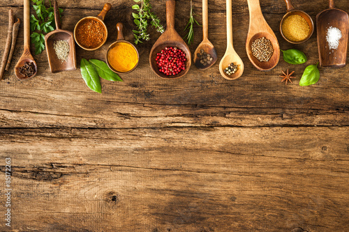 Poster Eten Colorful spices on wooden table