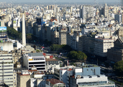 Foto op Canvas Buenos Aires Avenida mit Obelisk in Buenos Aires