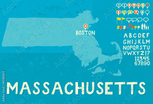 Fotografie, Obraz  Map of Massachusetts with icons