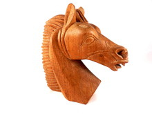 Close Up Of A Carved Wooden Horse's Head
