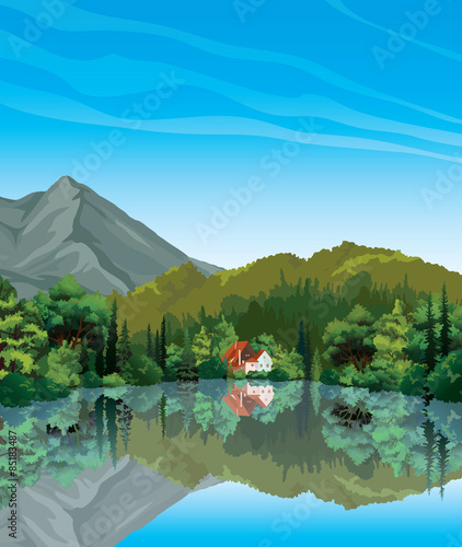 Foto op Plexiglas Blauw Summer landscape with house, forest and lake.