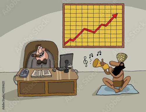 Photo  Conceptual cartoon about company profit