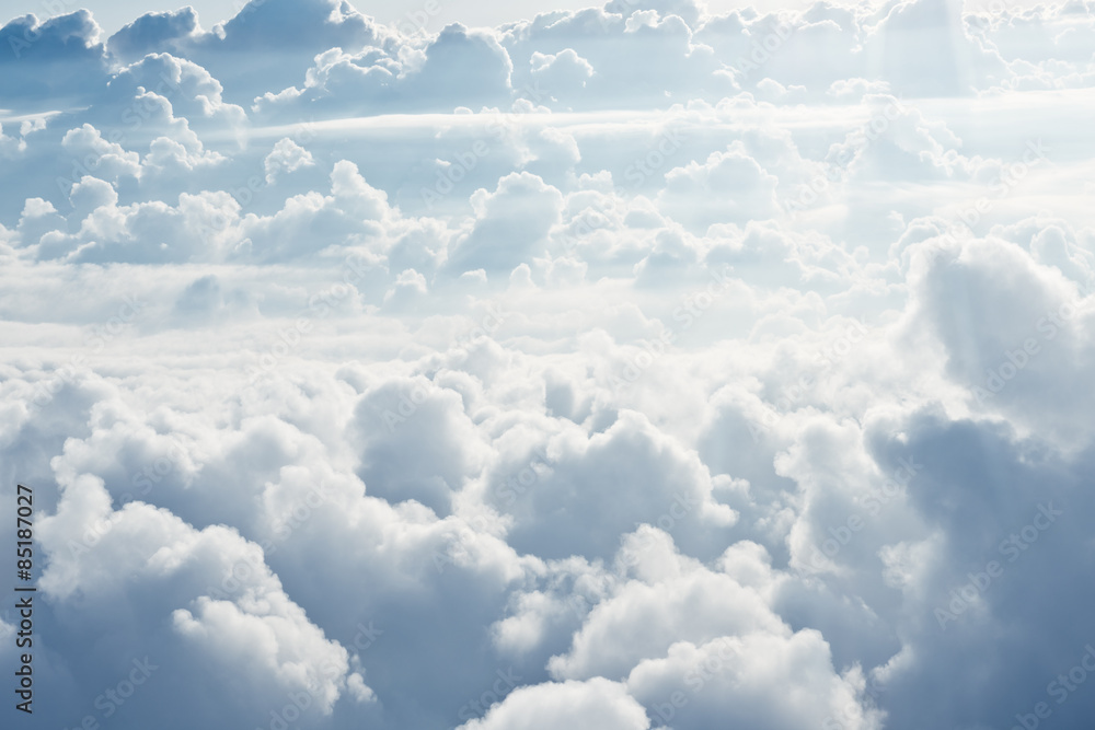 Fototapeta Aerial view on white fluffy clouds