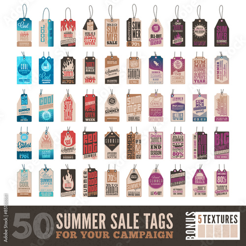 Fotografering  Collection of 50 Summer Sales Related Hang Tags + 5 Vintage Textures