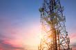 canvas print picture - Satellite dish telecom network at sunset communication technolog