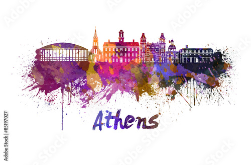athens-oh-skyline-in-watercolor
