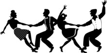 Vector Silhouette Of Two Young Couple Dressed In 1940s Fashion Dancing Lindy Hop Or Swing In A Formation, Isolated On White, No White Objects, EPS 8
