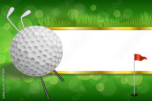 Green golf club sport white ball red flag gold strips frame - Buy ...