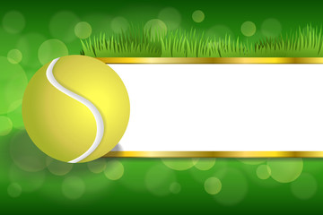 Panel Szklany Tenis Background green sport white tennis yellow ball gold strips frame
