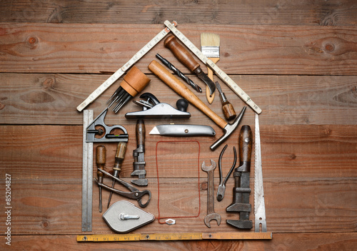 Fotografie, Obraz  Tools Arranged in House Shape