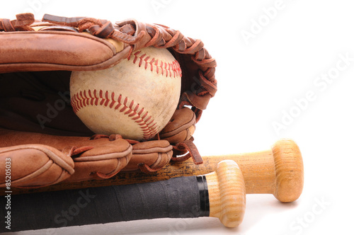 Baseball Glove ball and two bats on white with copyspace Poster