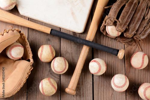Baseball Gear on Rustic Wood Surface Canvas Print