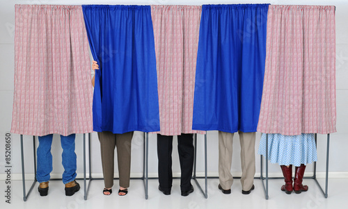 Valokuva  People in Voting Booths