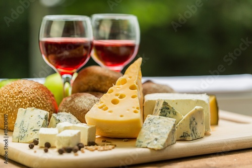 Fototapety, obrazy: Wine, Cheese, Food.