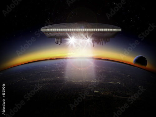 Alien planet and UFO spaceship at sunrise or sunset with a moon rising Poster