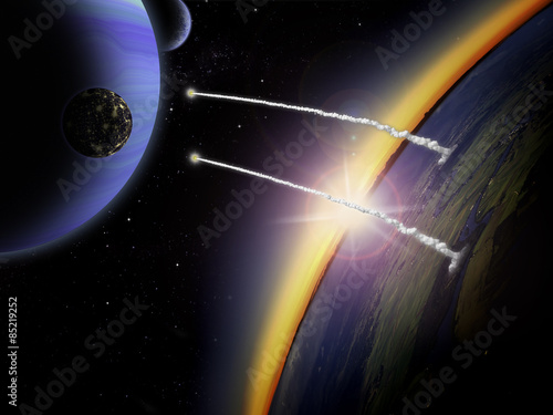 Two rockets launch from an alien planet towards a moon Poster