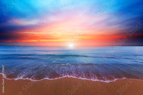 Foto auf Gartenposter Strand Beach and twilight sky