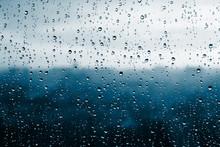 Raindrops On Window Glass.
