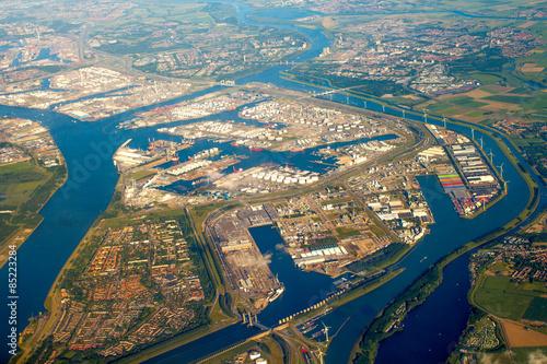 Staande foto Rotterdam Luftaufnahme, Hafen, Rotterdam, Niederlande
