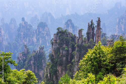 In de dag China scene of rock mountain in Zhangjiajie National Forest Park,Hunan