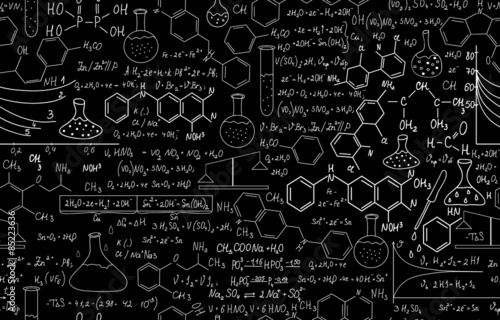 Fotografia  Chemistry vector seamless with plots, formulas, lab equipment