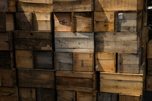 Crates Stack. Weathered Wooden Boxes Background.