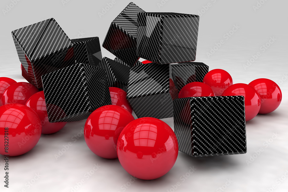 Red balls interact with black carbon cubes. 3D render image.
