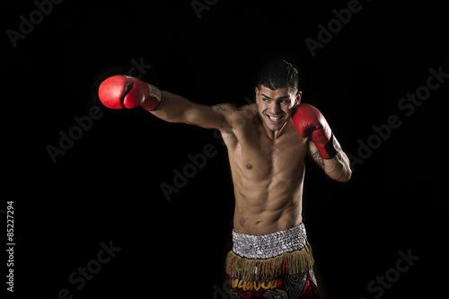 Photo  Boxeur in bianco e nero su sfondo nero