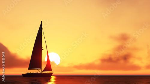 Fotografia  sailboat and sunset