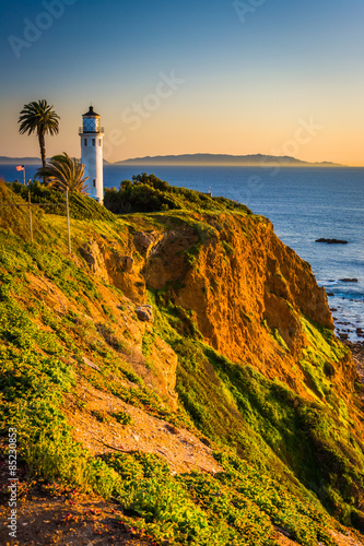 Staande foto Los Angeles View of Point Vicente Lighthouse at sunset, in Rancho Palos Verd