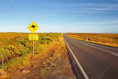 Poster Oceanië Great Ocean Road. Sign of kangaroos, Australia