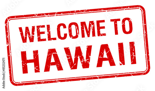 Welcome To Hawaii Red Grunge Square Stamp