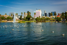 The Los Angeles Skyline And The Lake At MacArthur Park, In Westl