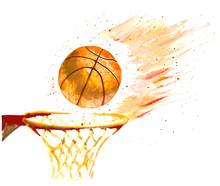 Watercolor Basketball Ball Thrown In A Basket. Vector