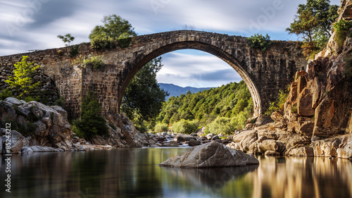Fotobehang Brug Ancient Roman bridge. Spain. Avila