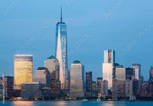 Skyline of Lower Manhattan at night Plakat
