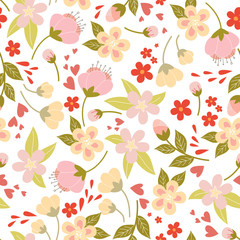 Vector seamless pattern with spring flowers and leafs. Kids illustration.
