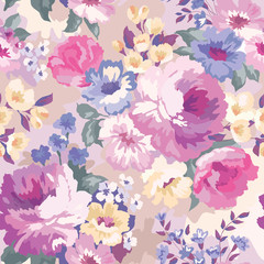 Fototapeta Beautiful seamless floral pattern with watercolor background. Flower vector illustration