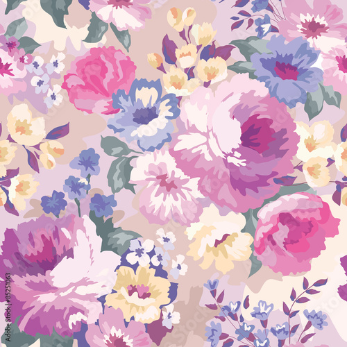 Beautiful seamless floral pattern with watercolor background Poster