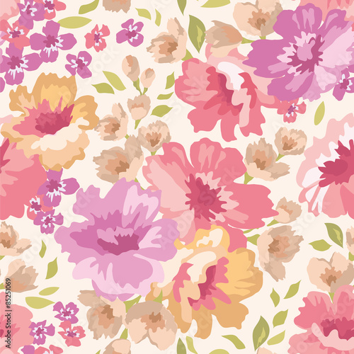 Seamless pattern with flowers on a light background Canvas Print