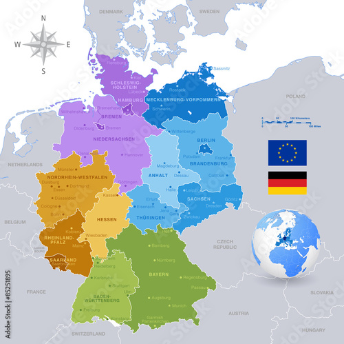 Photo  vector Colorful Map of Germany